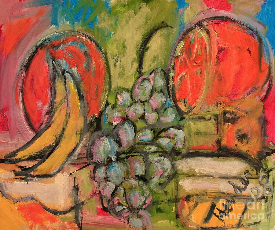 Abstract Painting - Still Life with Big Orange by Michael Henderson