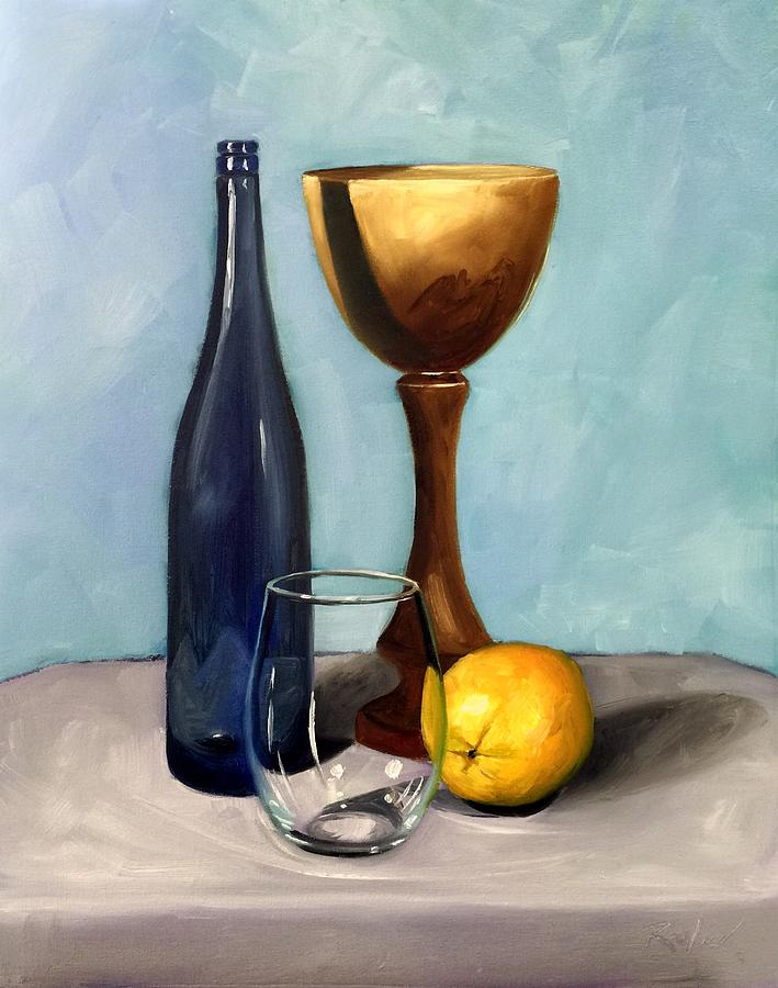 Painting Painting - Still Life With Blue Bottle by RB McGrath