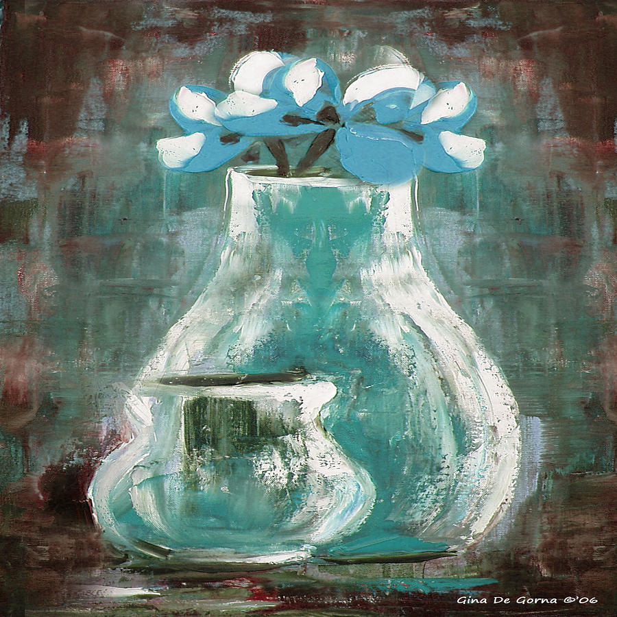Still Life Painting - Still Life With Blue Flowers by Gina De Gorna