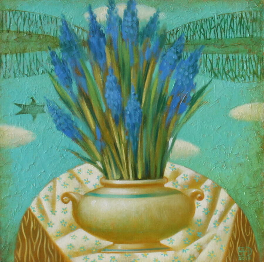 Still Life Painting - Still Life With Blue Flowers by Nadia Egorova