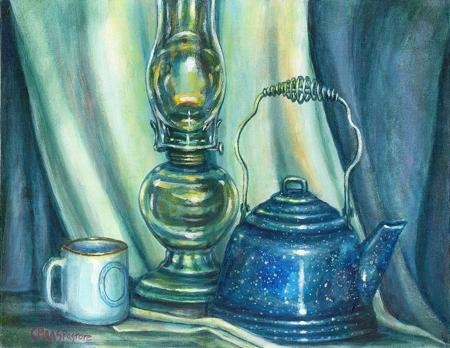 Antique Oil Lamp Painting - Still Life With Blue Tea Kettle by Colleen  Maas-Pastore
