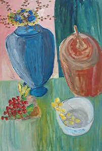 Still Life With Blue Vase Painting by Charles Semowich