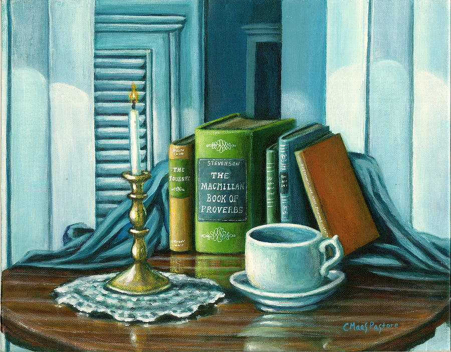 Books Painting - Still Life With Books by Colleen  Maas-Pastore