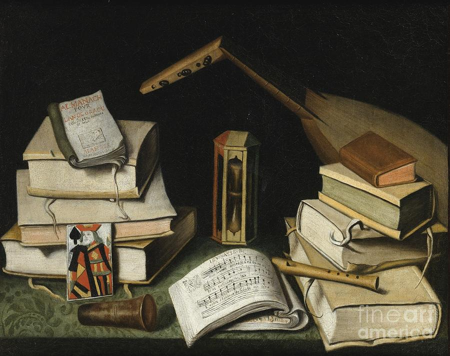 Still Life With Books Painting by Celestial Images