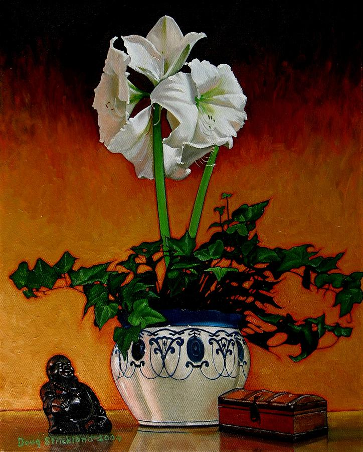Amaryllis Painting - Still Life With Buddha by Doug Strickland