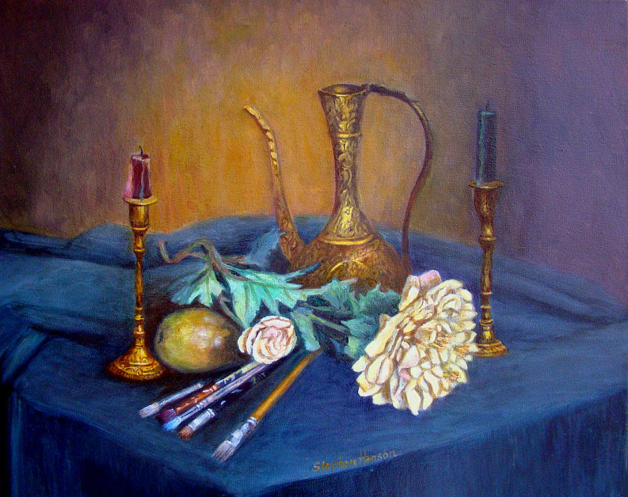 Still Life Painting - Still Life With Candlesticks And Brass by Stephen  Hanson