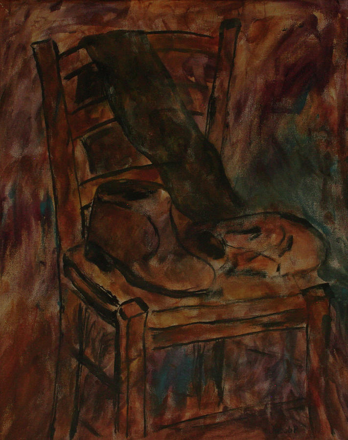 Still Life Painting - Still Life With Chair And Boots by Jacob R & Still Life With Chair And Boots Painting by Jacob R