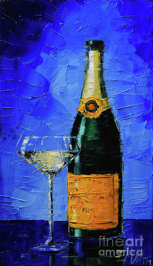 Still Life Painting - Still Life With Champagne Bottle And Glass by Mona Edulesco