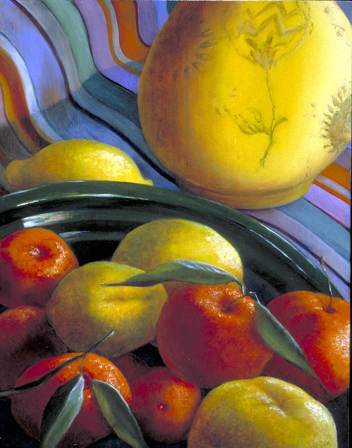 Oil Painting Painting - Still Life With Citrus by Nancy  Ethiel