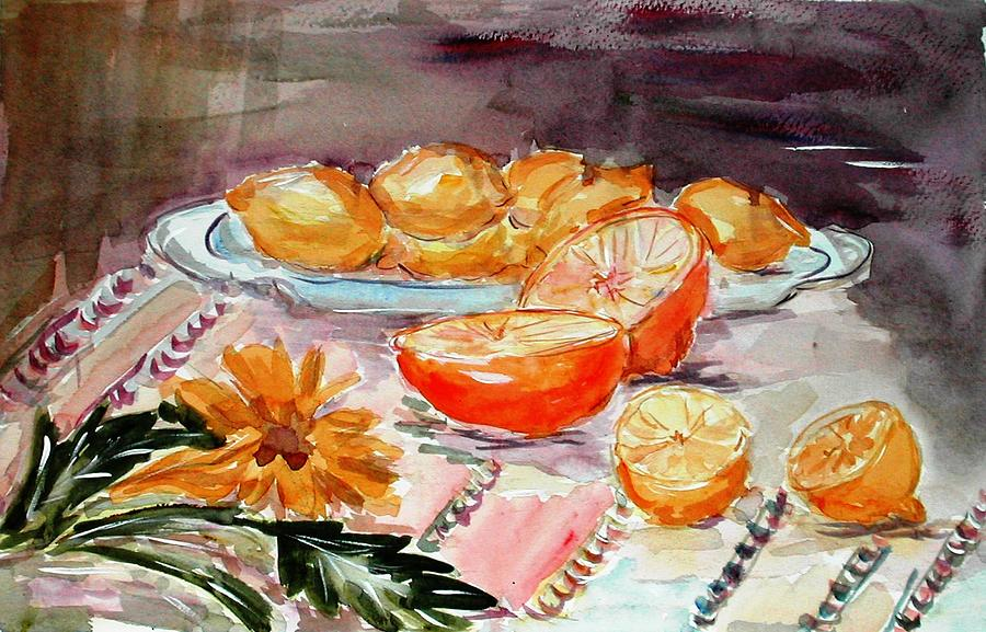 Fruits Painting - Still Life With Citruses by Liliana Andrei