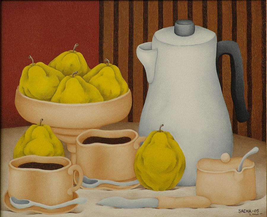 Still Life with Coffee Pot  2005 Painting by S A C H A -  Circulism Technique