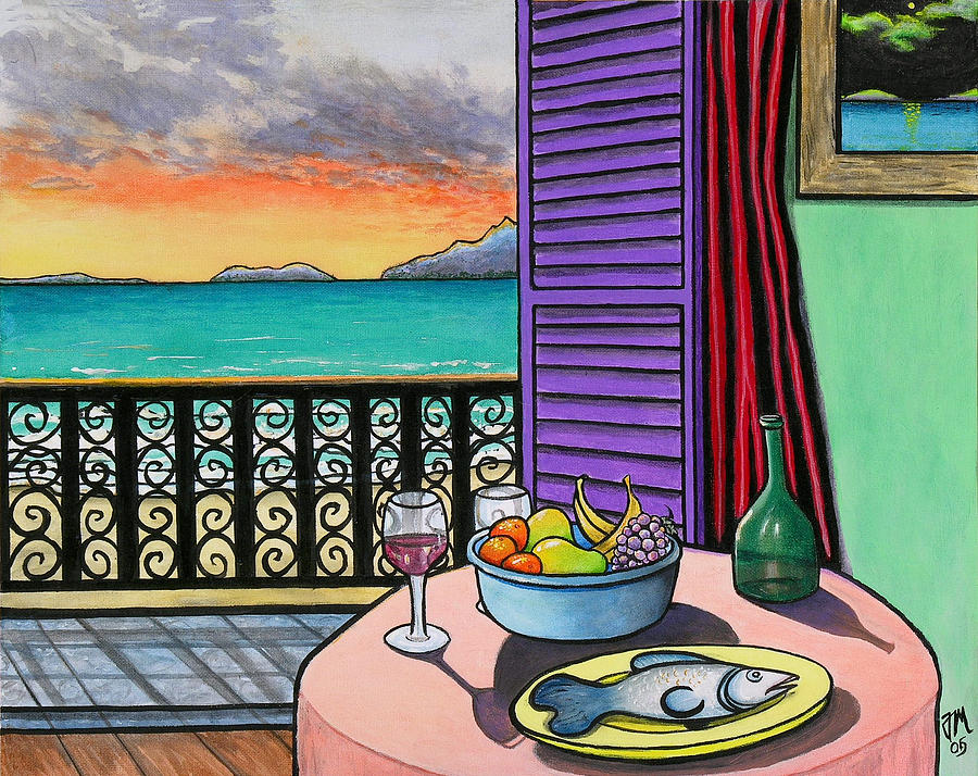 Still Life With Fish; Tropical Still Life Painting - Still Life With Fish by Joe Michelli