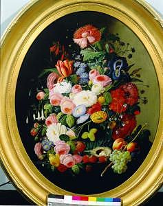 Still Life With Flowers Fruit And Birds Nest Painting by Severin Roesen