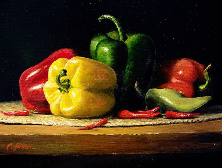 Still Life With Fresh Peppers Painting