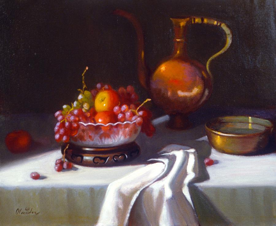 Still Life Realism Painting - Still Life With Fruit And Cut Glass Bowl by David Olander