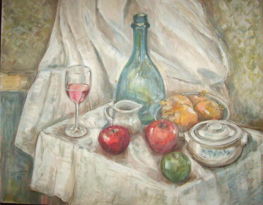 Still Life Painting - Still Life With Fruit And Wine by Joseph Sandora Jr