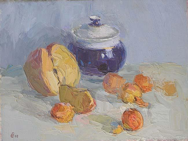 Fruit Painting - Still Life With Fruits by Gregory Gamaley