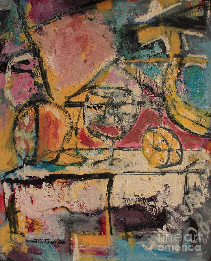 Abstract Painting - Still Life with Glass by Michael Henderson
