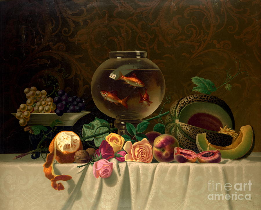 Still Life Photograph - Still Life With Goldfish 1873 by Padre Art