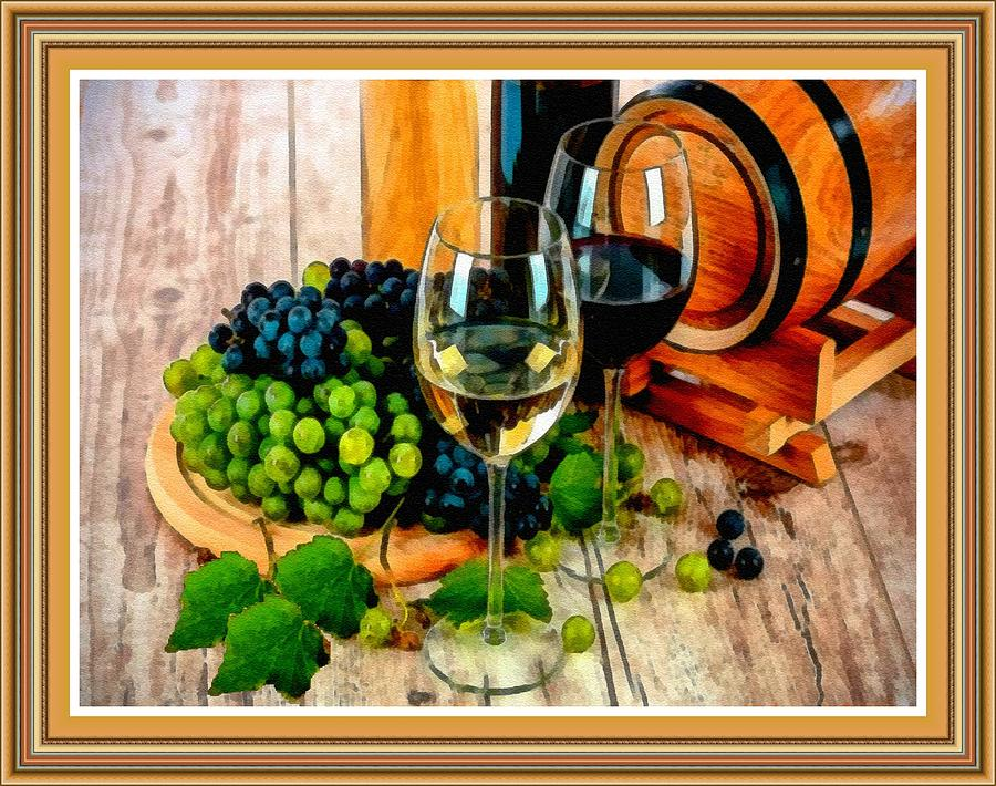 Still Life With Grapes And Wine Glasses L B With Decorative Ornate Printed Frame. Painting