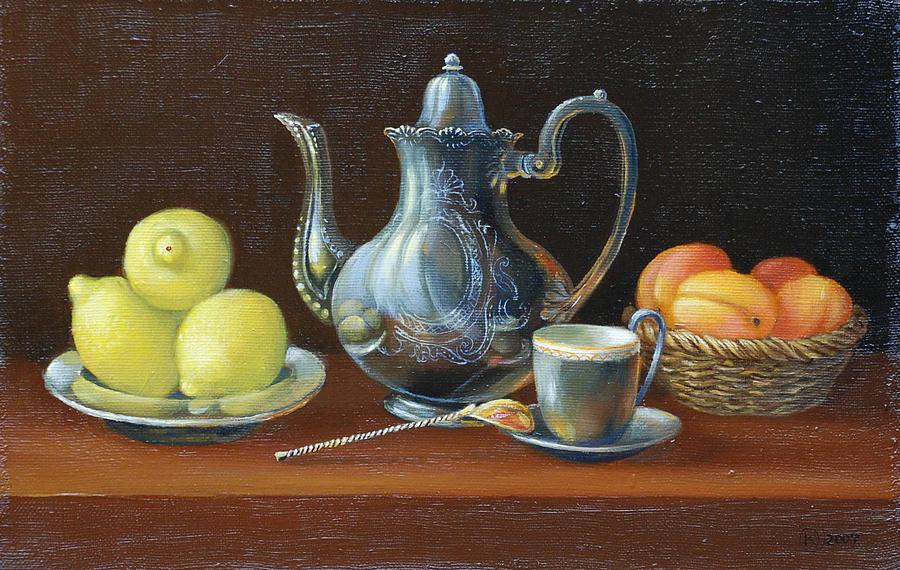 Still Life Painting - Still life with lemons by Marina Bare