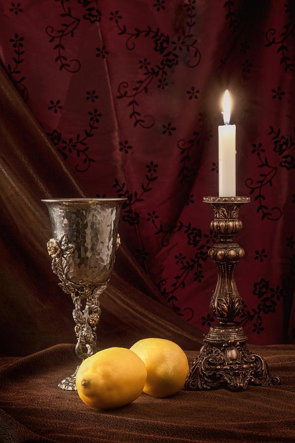 Candle Photograph - Still Life With Lemons by Tom Mc Nemar