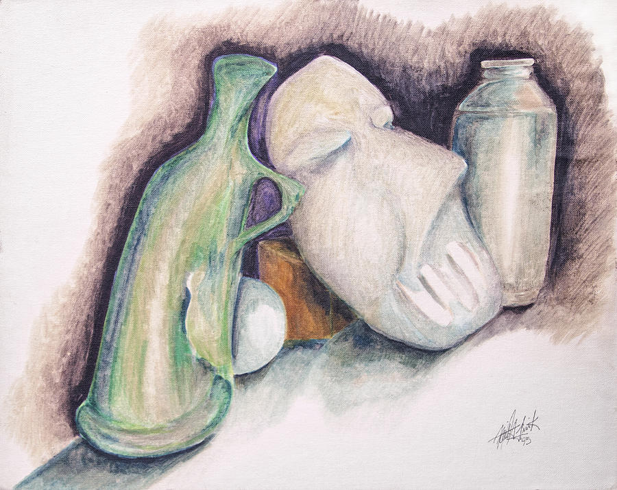 Marker Drawing - Still Life With Mask by Keith A Link