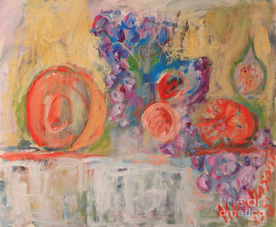 Abstract Painting - Still Life With Melon And Fig by Michael Henderson