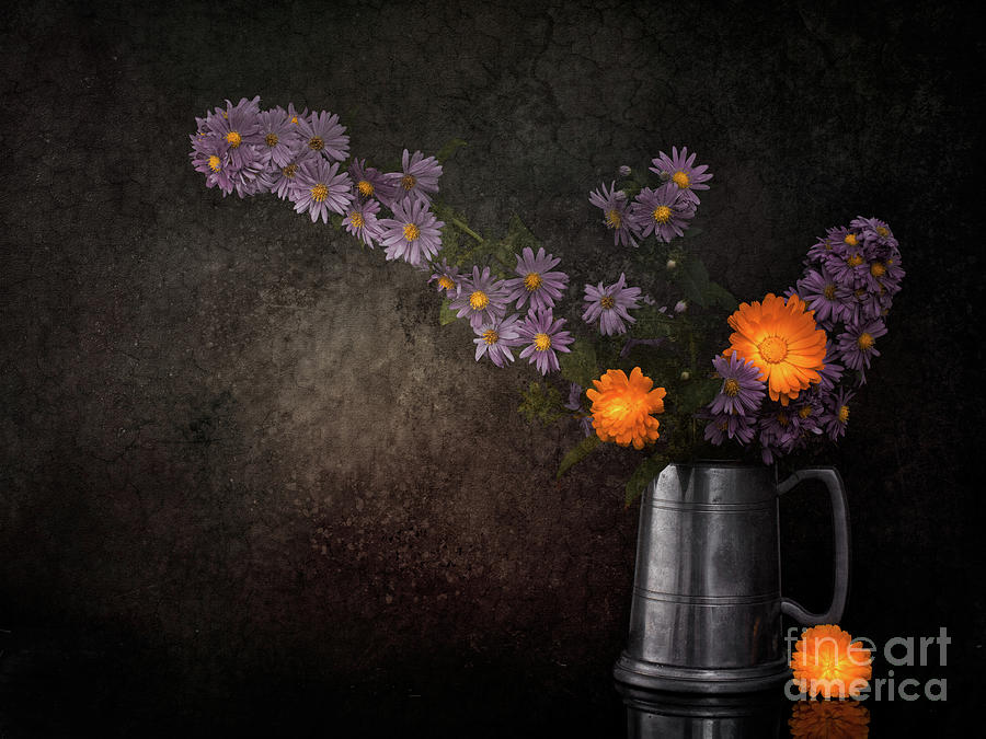 Still Life Photograph - Still life with Michaelmas daisies and marigold flowers.  by Judith Flacke
