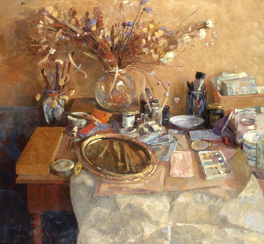 Still Life Painting - Still Life With Mirror by Ben Rikken
