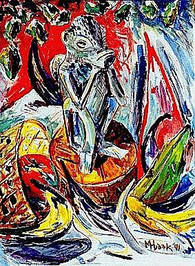 Still Life Painting - Still Life With Monkey Statue by Michael Hudak