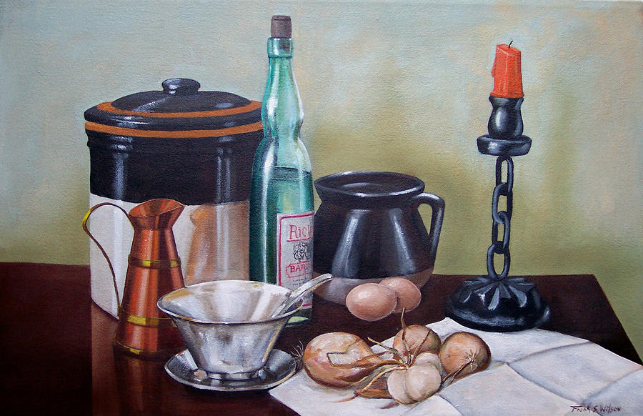 Still Life Painting - Still Life With Onions And Eggs by Frank Wilson
