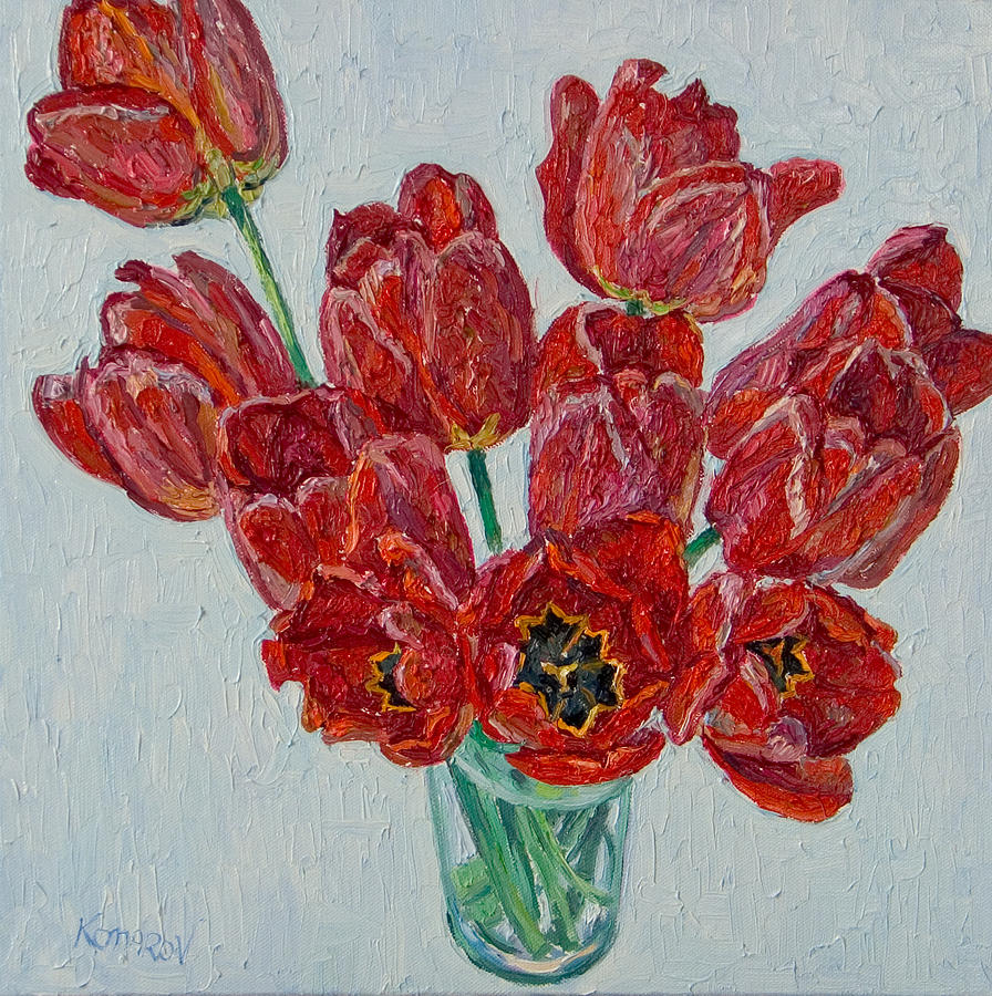 Flower Painting - Still Life With Open Red Tulips by Vitali Komarov