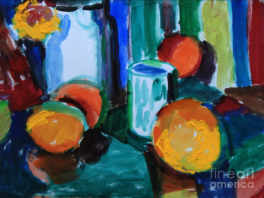Still Life Painting - Still Life With Orange by Andrey Semionov