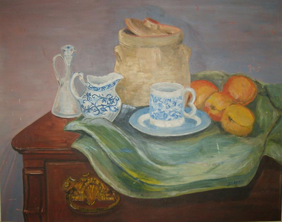 Still Life With Peaches Painting by Joseph Sandora Jr