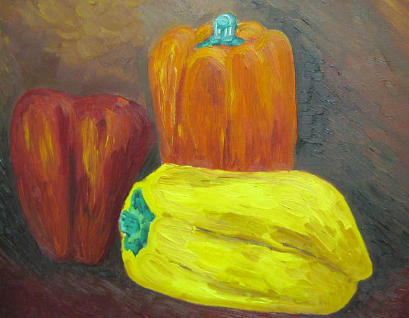 Still life With Peppers Painting by Caroline Lifshey