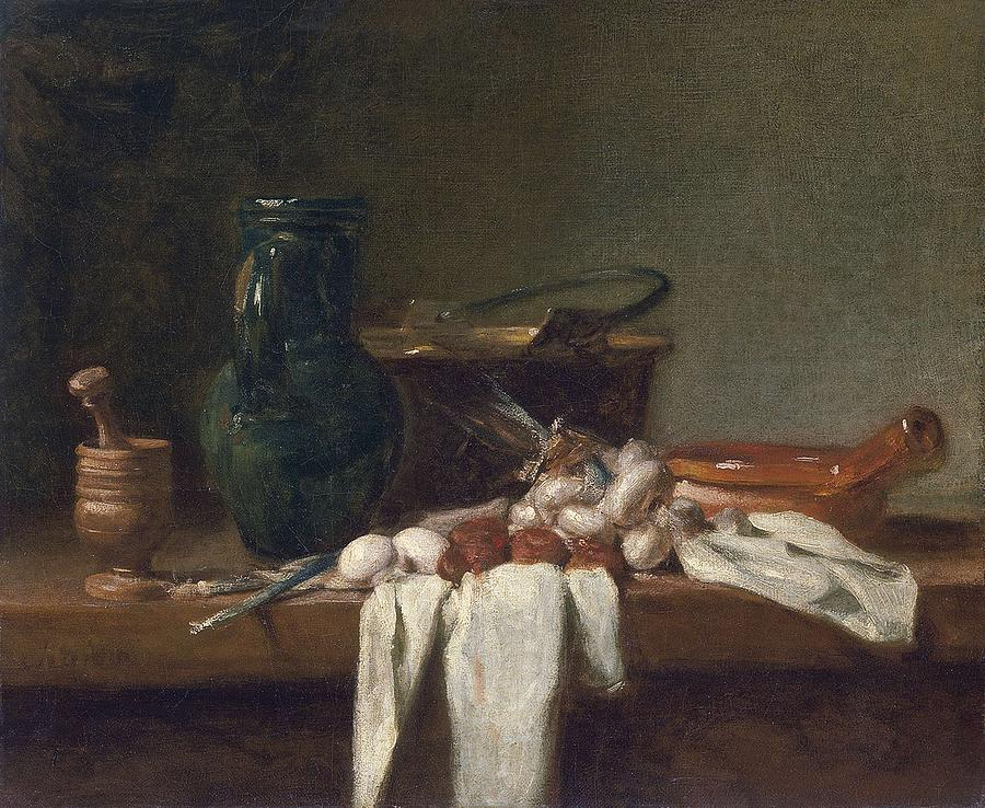 Still Life With Pestle And Mortar, Pitcher And Copper Cauldron Ca. 1728 - 1732 Jean Baptiste Simeon Painting