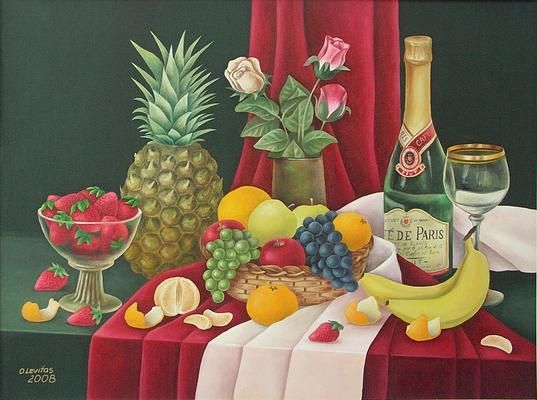 Still Life Painting - Still Life With Pineapple by Olga Levitas
