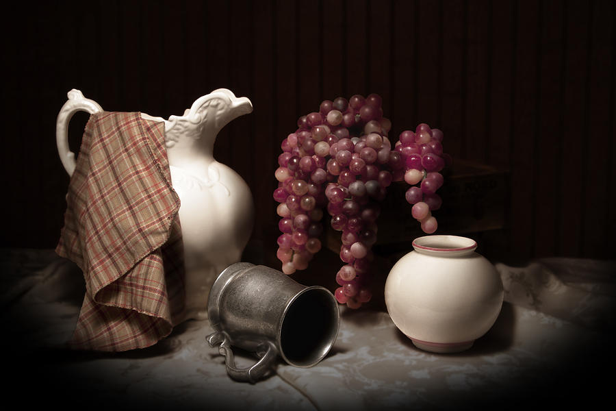 Urn Photograph - Still Life With Pitcher And Grapes by Tom Mc Nemar