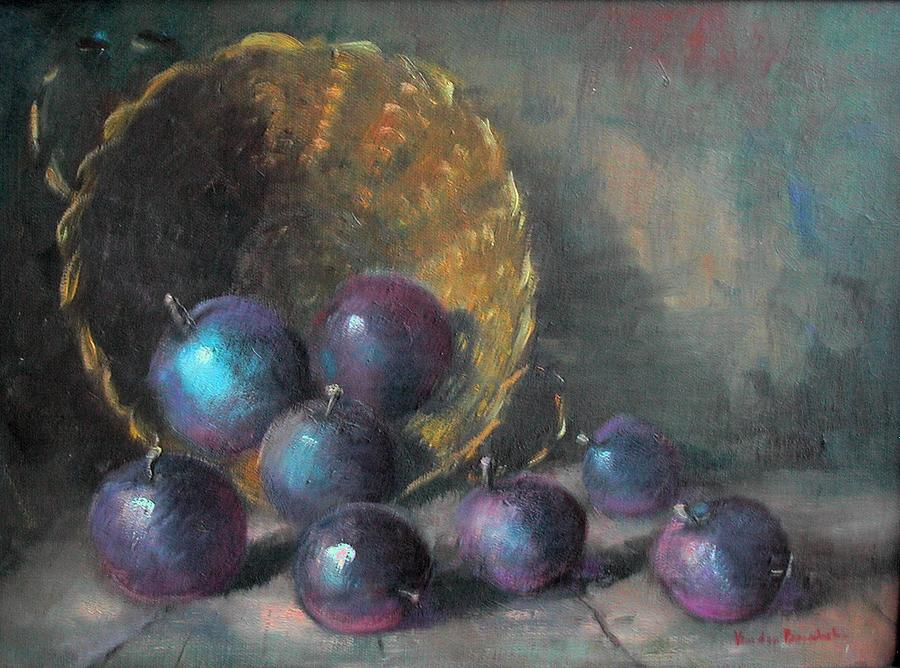 Plums Painting - Still Life With Plums And Basket by L Van den Bossche