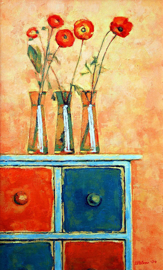 Poppies Painting - Still life with poppies by Iliyan Bozhanov