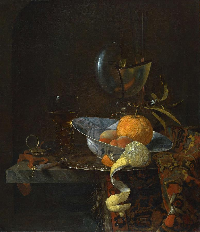 Still Life With Porcelain Bowl And Nautilus Cup 1660 By Willem Kalf Painting
