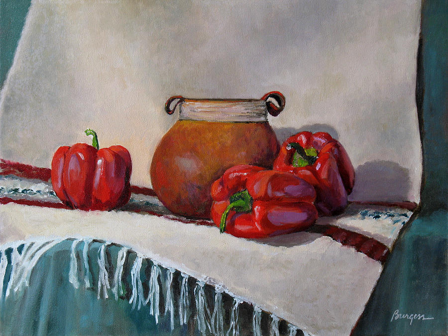 Impressionism Painting - Still Life With Red Peppers by Keith Burgess