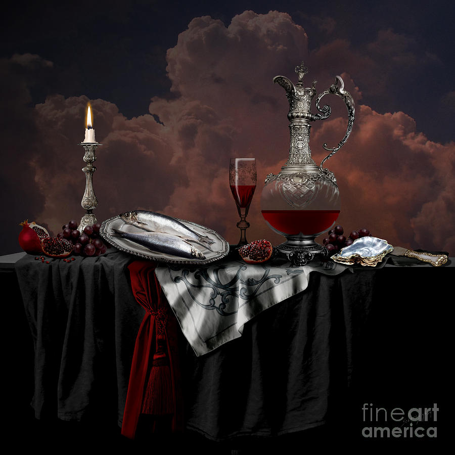 Still life with red wine by Alexa Szlavics