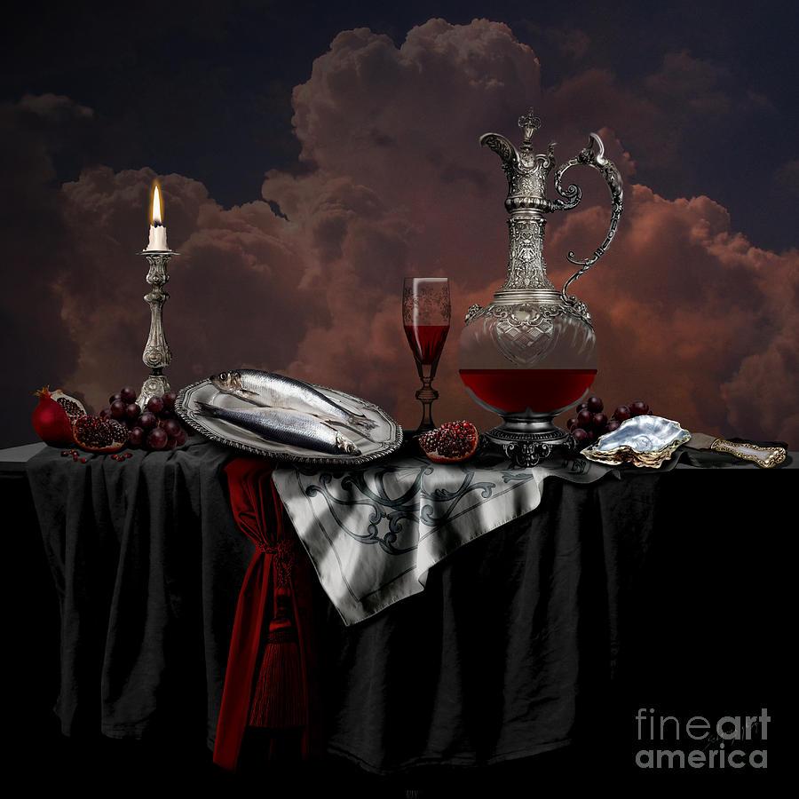 Still life with red wine by Alexa Szlavics