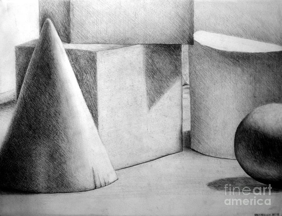Drawing Drawing - Still Life With Shapes by Nancy Mueller