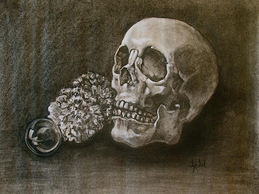 Black Painting - Still Life With Skull by Ixchel Amor