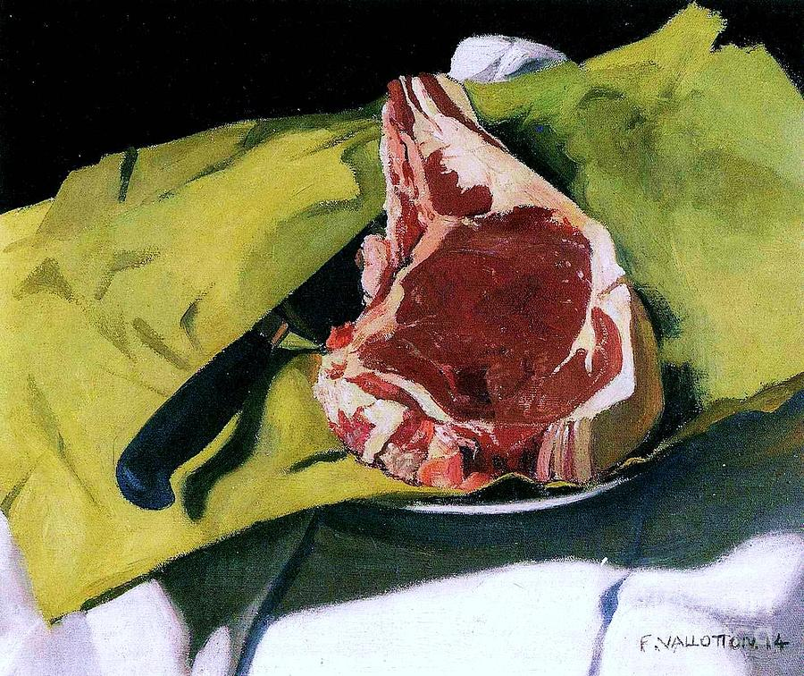 Pd Painting - Still Life With Steak by Pg Reproductions