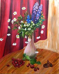 Summer Flowers Painting - Still Life With Strawberries by Jenia Tyshchenko