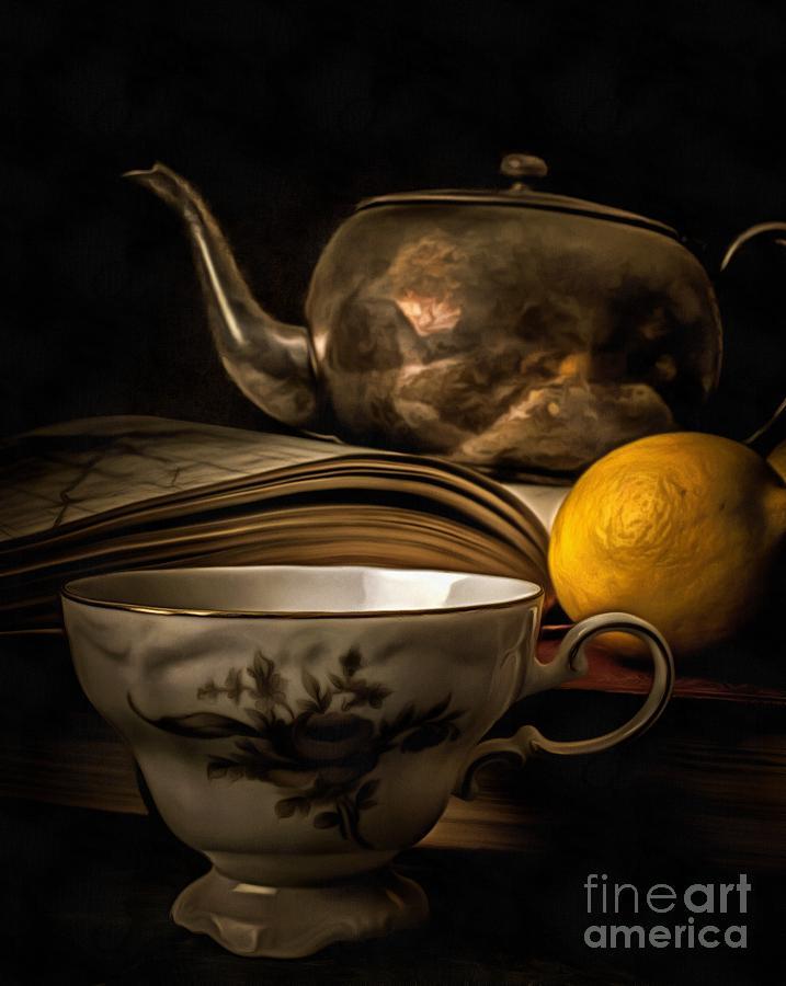 Tea Photograph - Still Life With Tea Cup by Edward Fielding
